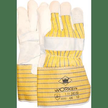 Nerflederen werkhandschoen met gerubberiseerde gele kap