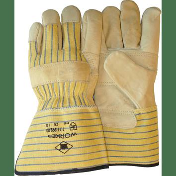Nerflederen werkhandschoen met gerubberiseerde PE kap en palmversterking