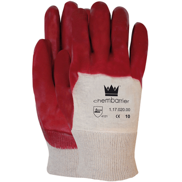 PVC Open Rug werkhandschoen rood