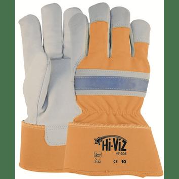 Oranje handschoen met extra zichtbaarheid voor meer veiligheid