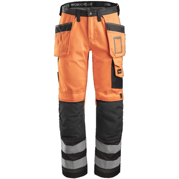 Snickers 3233 High Visibility Broek met holsterpockets, Klasse 2