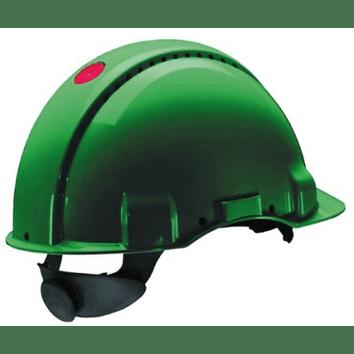3M Peltor G3000D: extra ventilerende veiligheidshelm met 180° omkeerbaar binnenwerk en lederen zweetband (groen)