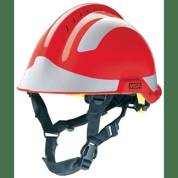 MSA X-Trem F2 Rode werkhelm met reflecterende stickers
