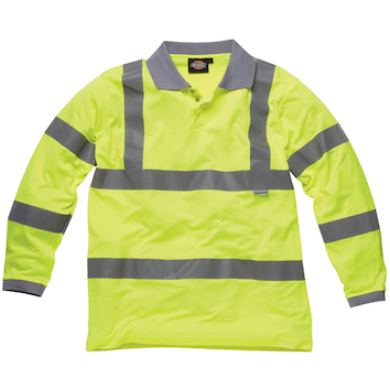 Dickies High Visibility Long Sleeve Polo Yellow